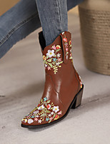 cheap -Women's Boots Cuban Heel Square Toe Booties Ankle Boots Daily PU Floral Dark Brown Yellow Coffee / Booties / Ankle Boots
