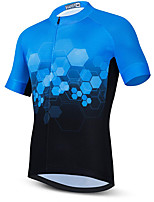 cheap -21Grams Men's Short Sleeve Cycling Jersey Summer Spandex Polyester Blue / Black Funny Bike Top Mountain Bike MTB Road Bike Cycling Quick Dry Moisture Wicking Breathable Sports Clothing Apparel