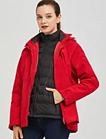 cheap -Women's Hiking Down Jacket Hiking 3-in-1 Jackets Ski Jacket Winter Outdoor Thermal Warm Waterproof Windproof Warm Outerwear Windbreaker Trench Coat Skiing Hunting Fishing Red Pink Ivory / Lightweight