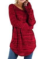 cheap -Women's T shirt Plain Long Sleeve Round Neck Basic Tops Cotton Wine Gray Royal Blue