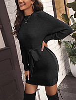 cheap -Women's Sweater Jumper Dress Short Mini Dress Red Wine Grey Black Long Sleeve Solid Color Bowknot Fall Spring Round Neck Active Casual 2021 S M L