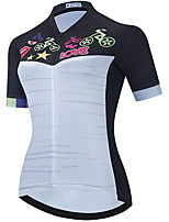 cheap -21Grams Women's Short Sleeve Cycling Jersey Summer Spandex Polyester Black+White Funny Bike Top Mountain Bike MTB Road Bike Cycling Quick Dry Moisture Wicking Breathable Sports Clothing Apparel
