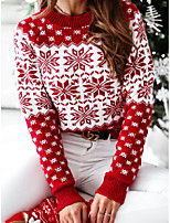 cheap -Women's Pullover Sweater Sweater Co-ords Knitted Scenery Symbol bulb Casual Long Sleeve Regular Fit Sweater Cardigans Round Neck Fall Winter Navy Red / Christmas