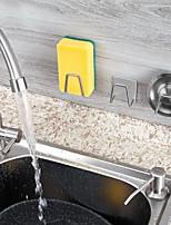 cheap -Kitchen Sink Sponges Holder Self Adhesive Drain Drying Rack Stainless Steel Kitchen Wall Hooks Accessories Storage Organizer