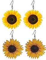cheap -2 pcs lovely sunflower drop earrings for women handmade wooden sun flower earrings (2 pcs large)