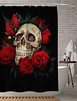 cheap -Halloween Shower Curtain Rose Skeleton Metal Skeleton Digital Printing Waterproof Fabric Bathroom Home Decoration Covered Bathtub Curtain Lining Including Hook