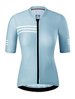cheap -21Grams Women's Short Sleeve Cycling Jersey Summer Spandex Pink Green Sky Blue Stripes Bike Top Mountain Bike MTB Road Bike Cycling Quick Dry Moisture Wicking Sports Clothing Apparel / Stretchy