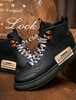 cheap -Men's Sneakers Casual Daily PU Breathable Non-slipping Wear Proof Black Fall Spring