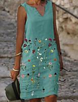 cheap -Women's A Line Dress Knee Length Dress Blue Sleeveless Floral Print Fall V Neck Casual 2021 S M L XL XXL 3XL