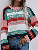 cheap -Women's Pullover Sweater Classic Style Chunky Multi Color Square Active Casual Long Sleeve Sweater Cardigans Round Neck Fall Spring Purple Blushing Pink