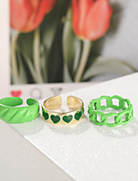 cheap -Ring Hollow Out Green Alloy Heart Stylish Simple Unique Design 3pcs One Size / Women's / Open Cuff Ring