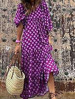 cheap -Women's A Line Dress Maxi long Dress Blue Purple Wine Green Lavender Red 3/4 Length Sleeve Geometric Print Fall Summer V Neck Casual Puff Sleeve 2021 S M L XL XXL