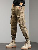 cheap -Men's Work Pants Hiking Cargo Pants Track Pants 6 Pockets Drawstring Military Winter Summer Outdoor Windproof Ripstop Breathable Multi Pockets Spandex Cotton Beam Foot Bottoms Grey Khaki Green Black