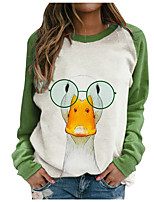 cheap -Women's Sweatshirt Animal Print Crew Neck Casual Daily 3D Print Basic Streetwear Hoodies Sweatshirts  Loose Green