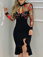 cheap -Women's Sheath Dress Knee Length Dress Blushing Pink Red Long Sleeve Floral Embroidered Ruffle Summer Round Neck Casual 2021 S M L XL XXL