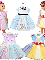 cheap -Kids Little Girls' Dress Multi Color Party / Evening Daily Wear WD5098-green and purple mermaid princess dress WD5098-Blue Alice Skirt WD5098-Yellow, White and Blue Snow White Dress Short Sleeve