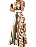 cheap -Women's A Line Dress Maxi long Dress Yellow Sleeveless Striped Print Summer V Neck Casual 2021 S M L XL