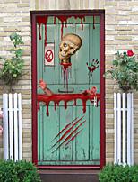 cheap -Halloween 2pcs Self-adhesive Horror Skull Door Sticker Living Room Diy Decoration Home Waterproof Wall Sticker 77x200cm