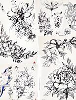 cheap -5 Pcs Women Girl Temporary Tattoo Sticker Black Roses Design Full Flower Arm Body Art Big Large Fake Tattoo Sticker