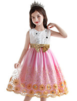 cheap -Kids Little Girls' Dress Floral / Botanical Color Block Ribbon bow Party / Evening Sapphire Blushing Pink Sleeveless Formal Dresses All Seasons 2-9 Years
