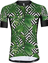 cheap -21Grams Men's Short Sleeve Cycling Jersey Summer Spandex Polyester Green Floral Botanical Funny Bike Top Mountain Bike MTB Road Bike Cycling Quick Dry Moisture Wicking Breathable Sports Clothing