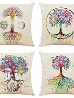 cheap -Colorful Life Tree Double Side Cushion Cover 4PC Soft Decorative Square Throw Pillow Cover Cushion Case Pillowcase for Bedroom Livingroom Superior Quality Machine Washable Indoor Cushion for Sofa Couch Bed Chair