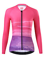 cheap -21Grams Women's Long Sleeve Cycling Jersey Spandex Pink Bike Top Mountain Bike MTB Road Bike Cycling Quick Dry Moisture Wicking Sports Clothing Apparel / Stretchy / Athleisure
