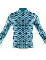 cheap -21Grams Men's Long Sleeve Cycling Jersey Spandex Polyester Blue Plaid Checkered Funny Bike Top Mountain Bike MTB Road Bike Cycling Quick Dry Moisture Wicking Breathable Sports Clothing Apparel