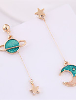 cheap -Women's Drop Earrings Earrings Mismatch Earrings Mismatched Moon Star Fashion Cute Sweet Earrings Jewelry Pink / Green For Gift Daily Prom Work 1 Pair
