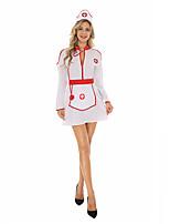 cheap -Nurse Cosplay Costume Adults' Women's Halloween Halloween Halloween Festival / Holiday Terylene White Women's Easy Carnival Costumes Solid Color / Dress / Apron / Headwear