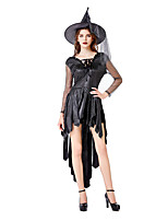cheap -Witch Magic Women Dress Cosplay Costume Adults' Women's Halloween Halloween Halloween Festival / Holiday Terylene Black Women's Easy Carnival Costumes Solid Color / Hat