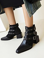cheap -Women's Boots Chunky Heel Pointed Toe Booties Ankle Boots Daily Outdoor Faux Leather Buckle Lace-up Plaid Solid Colored Black / White White / Yellow Black / Booties / Ankle Boots