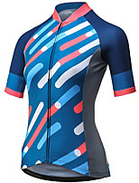 cheap -21Grams Women's Short Sleeve Cycling Jersey Summer Spandex Polyester Blue Stripes Funny Bike Top Mountain Bike MTB Road Bike Cycling Quick Dry Moisture Wicking Breathable Sports Clothing Apparel