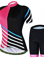 cheap -21Grams Women's Short Sleeve Cycling Jersey with Shorts Summer Spandex Polyester Pink Stripes Patchwork Funny Bike Clothing Suit 3D Pad Quick Dry Moisture Wicking Breathable Back Pocket Sports Stripes