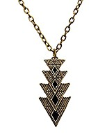 cheap -geometric three triangle arrow pendant necklace for women girls retro exaggerated charm fashion bohemian tribal style oil dripping arrow long necklace jewelry (black)