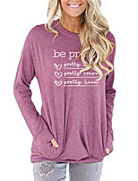 cheap -Women's Painting T shirt Graphic Heart Letter Long Sleeve Print Round Neck Basic Vintage Tops Regular Fit Cotton Blushing Pink Green Light gray