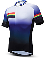 cheap -21Grams Men's Short Sleeve Cycling Jersey Summer Spandex Blue+White Stripes Gradient Bike Top Mountain Bike MTB Road Bike Cycling Quick Dry Moisture Wicking Sports Clothing Apparel / Stretchy
