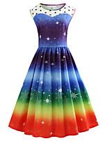 cheap -Women's A Line Dress Knee Length Dress Navy Blue Short Sleeve Polka Dot Print Color Gradient Print Fall Winter Round Neck Casual Vintage Christmas 2021 S M L XL XXL 3XL