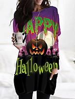 cheap -Women's Shift Dress Short Mini Dress Green White Long Sleeve Print Letter Pocket Print Fall Winter Round Neck Casual Halloween Holiday Regular Fit 2021 S M L XL XXL 3XL