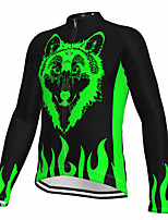 cheap -21Grams Men's Long Sleeve Cycling Jersey Spandex Polyester Black Wolf Fluorescent Funny Bike Top Mountain Bike MTB Road Bike Cycling Quick Dry Moisture Wicking Breathable Sports Clothing Apparel