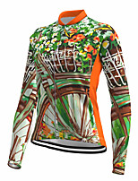 cheap -21Grams Women's Long Sleeve Cycling Jersey Spandex Polyester Green 3D Floral Botanical Funny Bike Top Mountain Bike MTB Road Bike Cycling Quick Dry Moisture Wicking Breathable Sports Clothing Apparel