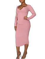 cheap -Women's Sheath Dress Midi Dress Blue Yellow Blushing Pink Black Red Navy Blue Long Sleeve Solid Color Ruched Fall V Neck Elegant Casual 2021 S M L XL XXL 3XL