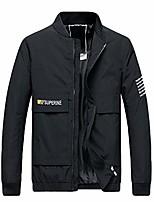cheap -men's jacket zipper windproof big and tall sportwear casual multi pocket outwear warm thick coat black