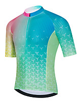 cheap -21Grams Men's Short Sleeve Cycling Jersey Summer Spandex Green Gradient Bike Top Mountain Bike MTB Road Bike Cycling Quick Dry Moisture Wicking Sports Clothing Apparel / Stretchy / Athleisure