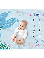 cheap -Mermaid flannel Baby Milestone Blanket Growth Memorial Blanket Baby Authentic Photography Prop Creative Photo Blanket