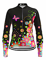 cheap -21Grams Women's Long Sleeve Cycling Jersey Spandex Polyester Black Butterfly Floral Botanical Funny Bike Top Mountain Bike MTB Road Bike Cycling Quick Dry Moisture Wicking Breathable Sports Clothing