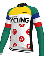 cheap -21Grams Men's Long Sleeve Cycling Jersey Spandex Polyester White Color Block Funny Bike Top Mountain Bike MTB Road Bike Cycling Quick Dry Moisture Wicking Breathable Sports Clothing Apparel