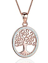 cheap -tree of life necklace, opal tree of life pendant necklace family tree jewelry for women teen gifts (rose gold & white opal)