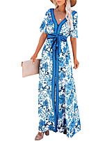 cheap -Women's A Line Dress Maxi long Dress Blue Short Sleeve Floral Backless Split Lace up Fall Summer V Neck Casual 2021 XS S M L XL