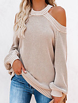 cheap -Women's Pullover Sweater Open Back Hole Solid Color Stylish Sexy Long Sleeve Sweater Cardigans Halter Neck Fall Winter Blue Wine Army Green